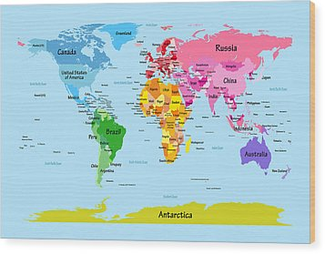 World Map With Big Text Wood Print by Michael Tompsett