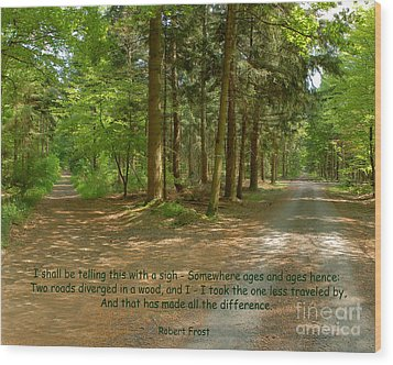12- The Road Not Taken Wood Print by Joseph Keane