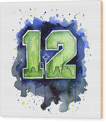 12th Man Seahawks Art Seattle Go Hawks Wood Print by Olga Shvartsur