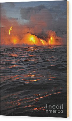 Steam Rising Off Lava Flowing Into Ocean Wood Print by Sami Sarkis
