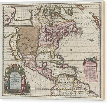 1698 Louis Hennepin Map Of North America Wood Print by Paul Fearn
