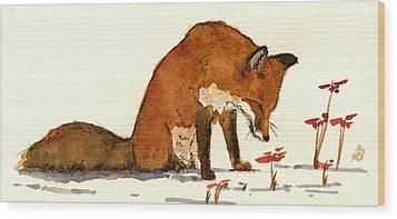 Red Fox Wood Print by Juan  Bosco