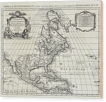 1708 De Lisle Map Of North America Wood Print by Paul Fearn