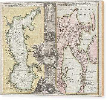 1725 Homann Map Of The Caspian Sea And Kamchatka Wood Print by Paul Fearn