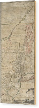 1768 Holland  Jeffreys Map Of New York And New Jersey  Wood Print by Paul Fearn