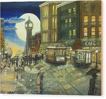 1800s Street Scene Painting Wood Print by Larry E Lamb