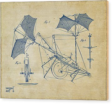 1879 Quinby Aerial Ship Patent Minimal - Vintage Wood Print by Nikki Marie Smith