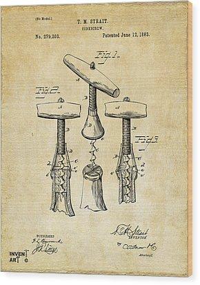 1883 Wine Corckscrew Patent Art - Vintage Black Wood Print by Nikki Marie Smith