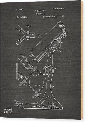 1886 Microscope Patent Artwork - Gray Wood Print by Nikki Marie Smith