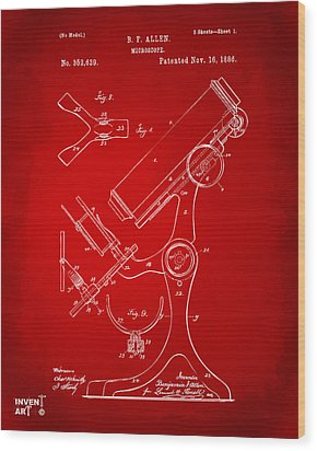 1886 Microscope Patent Artwork - Red Wood Print by Nikki Marie Smith