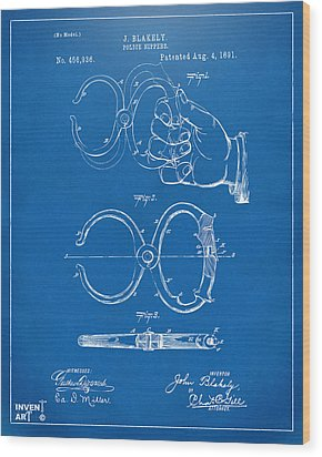 1891 Police Nippers Handcuffs Patent Artwork - Blueprint Wood Print by Nikki Marie Smith