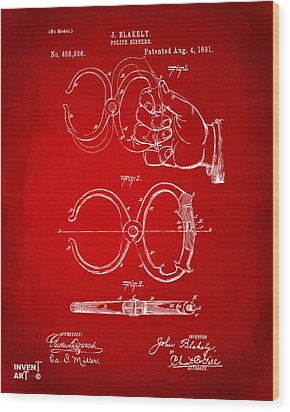 1891 Police Nippers Handcuffs Patent Artwork - Red Wood Print by Nikki Marie Smith