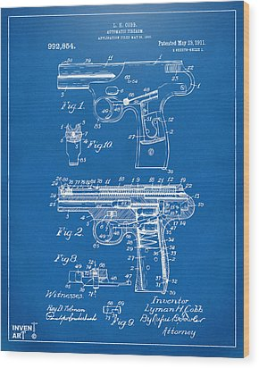 1911 Automatic Firearm Patent Artwork - Blueprint Wood Print by Nikki Marie Smith