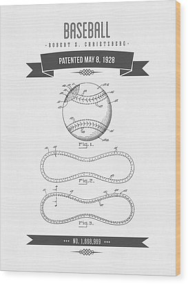 1928 Baseball Patent Drawing Wood Print by Aged Pixel