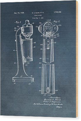 1930 Drink Mixer Patent Blue Wood Print by Dan Sproul
