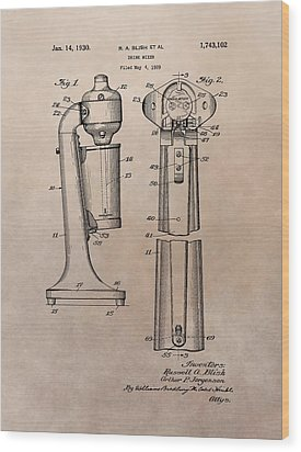 1930 Drink Mixer Patent Wood Print by Dan Sproul
