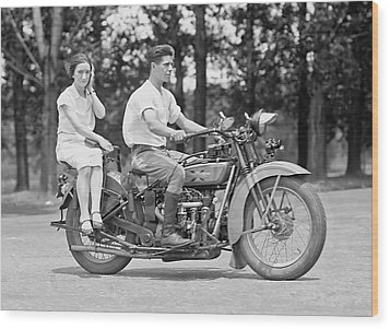 1930s Motorcycle Touring Wood Print by Daniel Hagerman