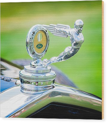 1931 Ford Model A Deluxe Fordor Hood Ornament Wood Print by Sebastian Musial
