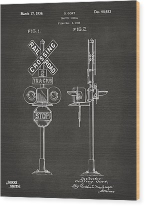 1936 Rail Road Crossing Sign Patent Artwork - Gray Wood Print by Nikki Marie Smith