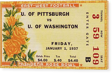 1937 Rose Bowl Ticket Wood Print by David Patterson