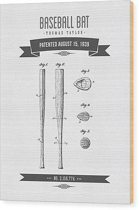 1939 Baseball Bat Patent Drawing Wood Print by Aged Pixel
