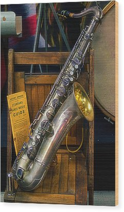 1940ish Saxophone Wood Print by Thomas Woolworth