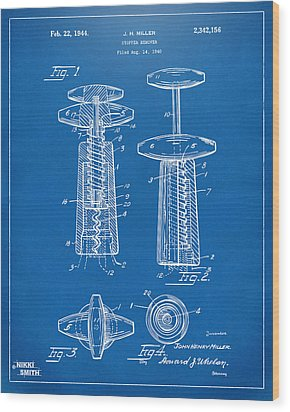 1944 Wine Corkscrew Patent Artwork - Blueprint Wood Print by Nikki Marie Smith