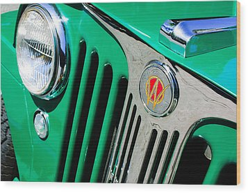 1949 Willys Jeep Station Wagon Grille Emblem Wood Print by Jill Reger