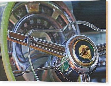 1950 Chrysler New Yorker Coupe Steering Wheel Emblem Wood Print by Jill Reger