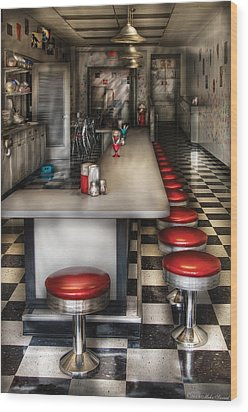 1950's - The Ice Cream Parlor  Wood Print by Mike Savad