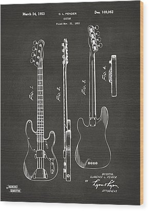 1953 Fender Bass Guitar Patent Artwork - Gray Wood Print by Nikki Marie Smith