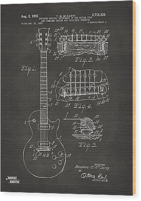 1955 Mccarty Gibson Les Paul Guitar Patent Artwork - Gray Wood Print by Nikki Marie Smith