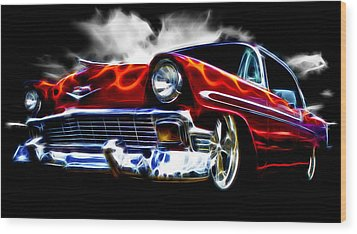 1956 Flamin Chevrolet Wood Print by Phil 'motography' Clark