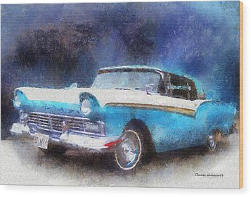1957 Ford Classic Car Photo Art 02 Wood Print by Thomas Woolworth