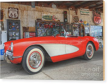 1957 Little Red Corvette Route 66 Wood Print by Bob Christopher