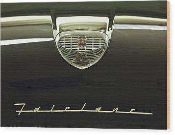 1958 Ford Fairlane 500 Victoria Hood Ornament Wood Print by Jill Reger