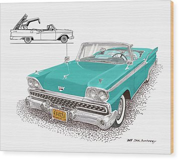 1959 Ford 500 Fairlane Retractable Hard Top Wood Print by Jack Pumphrey