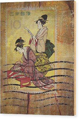 1959 Japanese Postcard Mail Wood Print by Carol Leigh