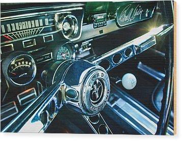 1965 Shelby Prototype Ford Mustang Steering Wheel Emblem 2 Wood Print by Jill Reger
