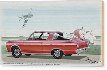 1966 Barracuda  Classic Plymouth Muscle Car Sketch Rendering Wood Print by John Samsen