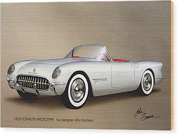 1953 Corvette Classic Vintage Sports Car Automotive Art Wood Print by John Samsen