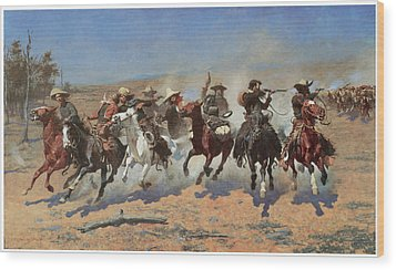 A Dash For The Timber Wood Print by Frederic Remington