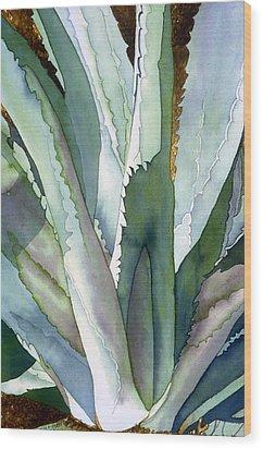 Agave 1 Wood Print by Eunice Olson