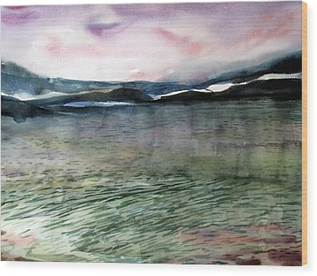 Alaskan Waters Wood Print by Mindy Newman