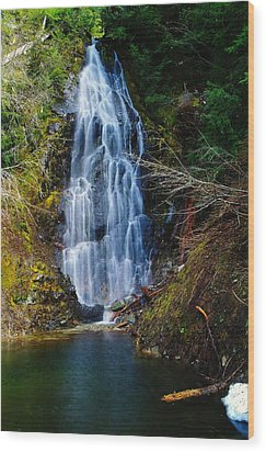 An Angel In The Falls Wood Print by Jeff Swan