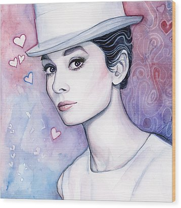 Audrey Hepburn Fashion Watercolor Wood Print by Olga Shvartsur