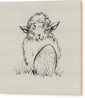 Baa Baa Wood Print by Angel  Tarantella