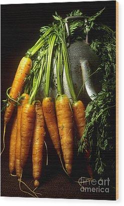 Carrots Wood Print by Bernard Jaubert