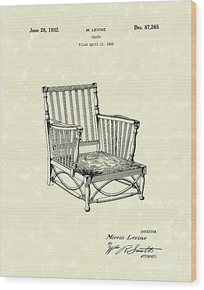 Chair 1932 Patent Art Wood Print by Prior Art Design