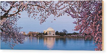 Cherry Blossom Tree With A Memorial Wood Print by Panoramic Images